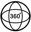 360 degree icon. Outline design. Vector Illustration