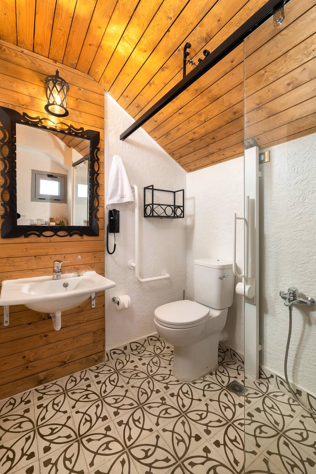 Elafos Hotel Bathroom - Elakati Best Hotel in Rhodes Greece