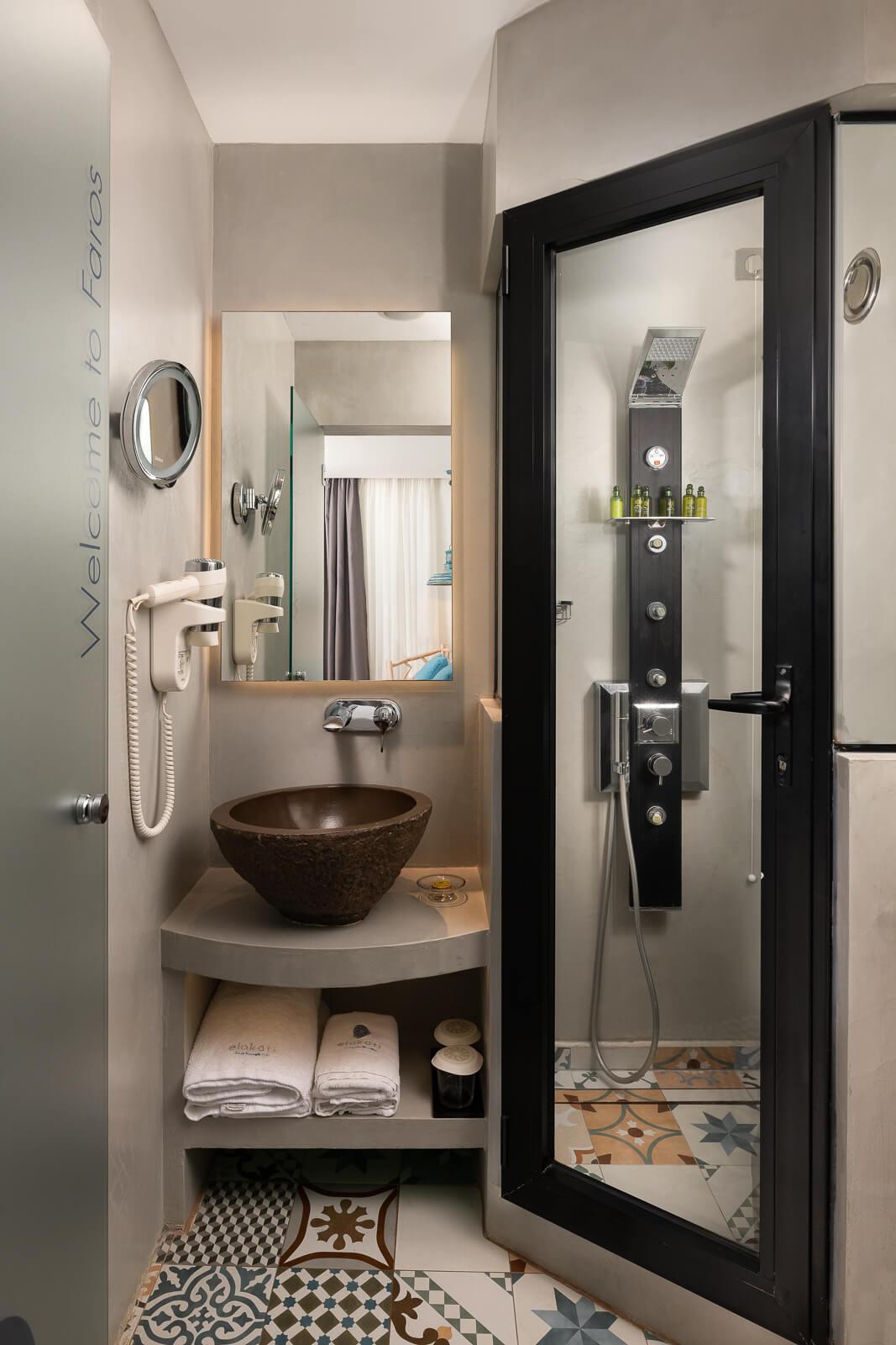 Faros Hotel Bathroom - Elakati Best Hotel in Rhodes Greece