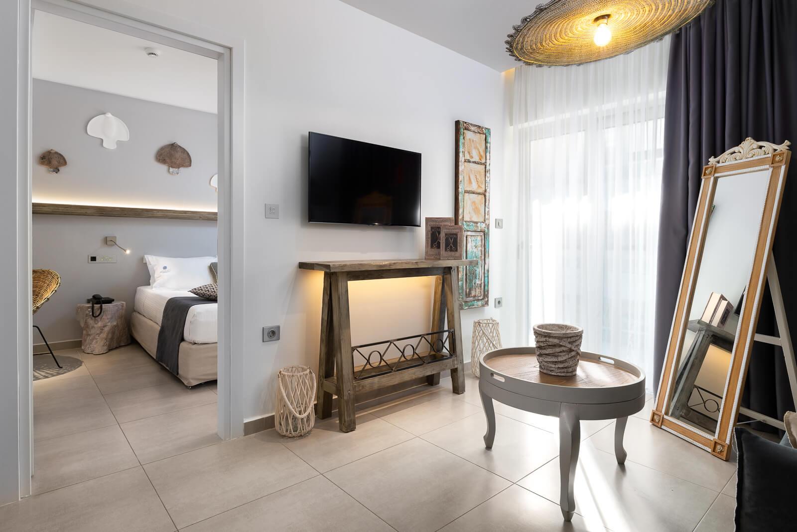 Nisos Suite Living Room - Elakati Luxury Boutique Hotel in Rhodes
